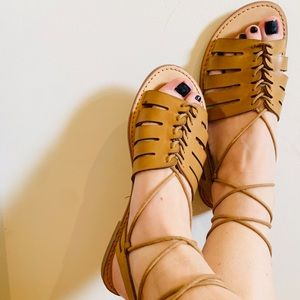 Lace up mustard sandals
